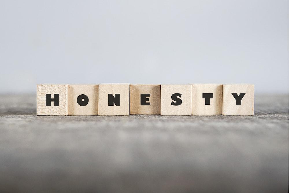 The word honesty written on wooden blocks.